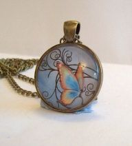 Handcrafted Antique Bronze Glass Pendant Butterfly by DBHjewellery, $8.75