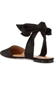 Sam Edelman - Brandie Slub Satin Point-toe Flats - Black - US10.5