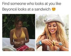 Why can't Beyoncé look at ME like she looks at sandwiches? Why can't we be bffs? Why can't we live together in her mansion? Why can't we do dubsmashes to her own songs? Why can't we karaoke to her own songs? Why can't I be like Beyoncé? Why can't I BE Beyoncé?? You Funny, Stupid Funny, Funny Kids, Funny Cute, Really Funny, Funny Stuff, Beyonce Funny, Beyonce Memes, Beyonce Quotes