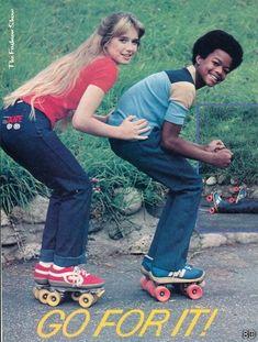 Miss Vintage Pop Culture: Random Rollermania ~ Dana Plato (RIP) and Todd Bridges Roller Rink, Roller Disco, Roller Derby, Roller Skating, Todd Bridges, Dana Plato, Skate Girl, 70s Fashion, Tennis Fashion