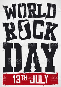 Stencil design with music note and guitar silhouettes with black and red sprays to celebrate World Rock Day this 13th July. Silhouette Vector, Stencil Designs, Free Vector Art, Music Notes, Feature Film, Sprays, Photo Illustration, Image Now, All Art