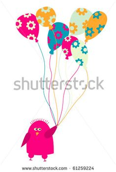 Abstract Cute Bird With Balloons.Raster Stock Photo 61259224 : Shutterstock