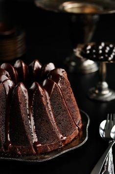 Chocolate espresso bundt cake with dark chocolate cinnamon glaze. This sounds delish!  I would love to have a pan like this one!!!