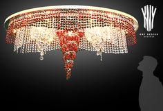 Crystal Ceiling Light, Ceiling Lighting, Decorative Lighting, Led, Light Decorations, Red Black, Swarovski Crystals, Chandelier, Lights