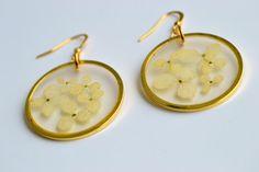 Hydrangea flowers in resin earrings  resin by twocatsboutique, $25.00