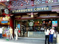 Sipping Starbucks in Shanghai
