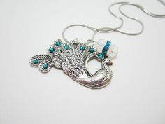 Large Peacock Blue Gem Charm Necklace on Snake by WhispySnowAngel, $14.00