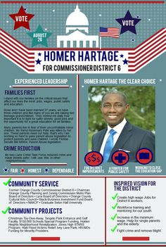 Vote Homer Hartage Orange County Commissioner District 6. An Experienced Leader. Thank you.