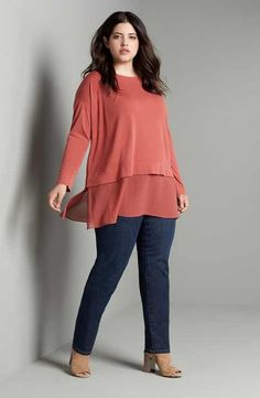 Eileen Fisher Tunic & Slim Jeans Outfit with Accessories (Plus Size)