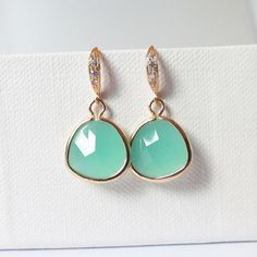 mint and gold earrings, mint gold earrings, mint bridal earrings, mint bridesmaid, aqua mint earrings, bridesmaids earrings