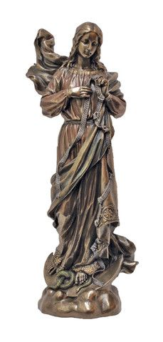"""Madonna Mary Under Knots Bronze Style Madonna Statue Virgin Mary Helps Us OverCome Sin 8"""" Veronese Collection"""