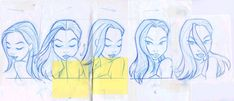 """cooketimm: """" Dana head turns from the Batman Beyond opening credits designed by Darwyn Cooke. Shane Glines drew the original head turns, which were then xeroxed and hand colored by Bruce Timm. Source:..."""