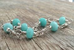Blue Jade Bracelet, Sterling Silver Wire Wrapped Linked, Soft Mint