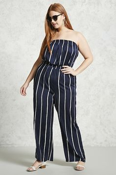 Forever 21+ - A semi-sheer woven jumpsuit featuring a smocked strapless neckline, an allover stripe pattern, a smocked waist, and palazzo pants.