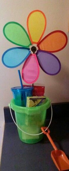 End of school year teacher gift  bucket, citronella candle, tumbler cup, lemonade, twizzlers, and a wind flower! $6!