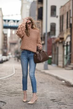 Chunky sweater, Levi s jeans, louis vuitton bag for a winter style look.   50eaf428c0