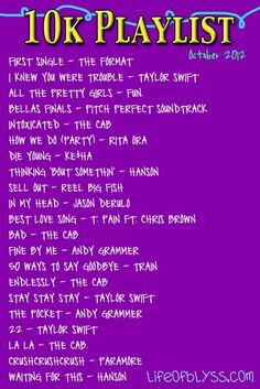 10k playlist 2012 from Life of Blyss