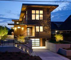 side steps to house Sophisticate Underground Garage Design for Elegant Home Design: Contemporary House With Underground Garage Design And Raised Entry Applied O...
