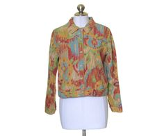 Coldwater Creek Multi-Color Artsy Canvas Button Long Sleeve Jacket Petites S #ColdwaterCreek #BasicJacket