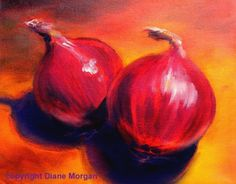 Red Onions  oil on canvas by Diane Morgan, painting by artist Diane Morgan