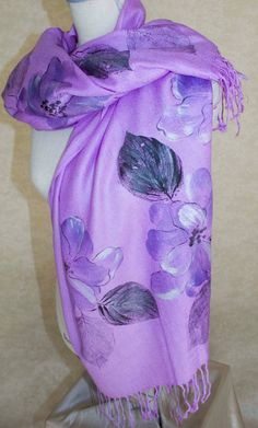 Violet Pashmina Silk Shawl Hand Painted Violet Bliss by Marutxi