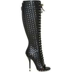 online store eeaea 927ba GIVENCHY 115mm Printed Weave Open Toe Boots found on Polyvore