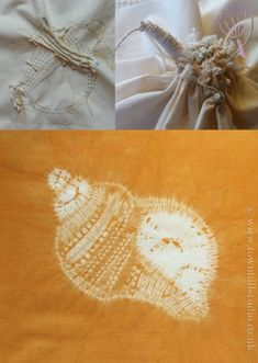 Shibori stitching and gathering to explain how to create a shell pattern in shibori stitch resist.