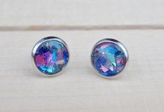 Multicolored Glass Glitter Stud Earrings  by sewwhimsycreations