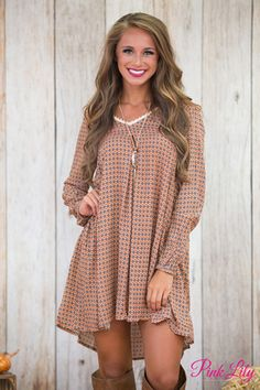 A Breath Away Printed Dress Cinnamon