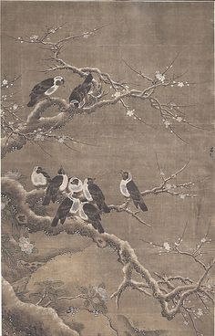 Collared Crows on Winter Prunus Unidentified Artist Artist: In the style of Lü Ji (Chinese, active late 15th century) Ming dynasty (?) (1368–1644) China