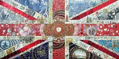 'Union Flag (UK Home Truths)' 150 x 75 cms Recycled ceramic, mirror, mosaic tesserae, badges on board.