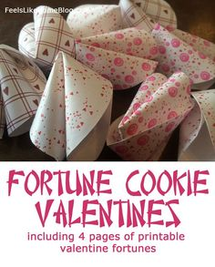 How to make simple, fun, homemade paper fortune cookies for Valentine's Day or Chinese New Year. Includes 4 pages of printable Valentine fortunes and love messages. Great ideas for kids or adults. Great crafts for the holidays. Valentine Messages, Valentine Day Love, Valentine Day Crafts, Love Messages, Printable Valentine, Holiday Crafts, Holiday Fun, Valentine Ideas, Valentine Stuff
