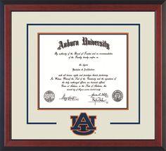 auburn university diploma frame cherry reverse wlaser au logo cutout cream on navy on orange mat - Diploma Frames Walmart
