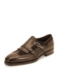 Marlin Double-Monk Shoe, Brown by Salvatore Ferragamo at Bergdorf Goodman.