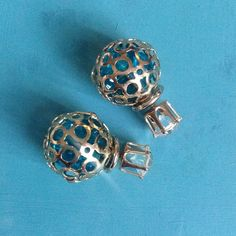 Brand New Double Sided Earrings Gold tone ball filled with blue rhinestone pieces. Very pretty. O.S.S Jewelry Earrings