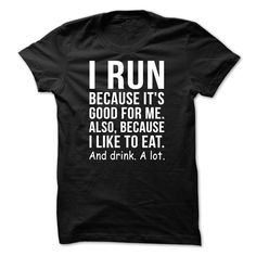 I RUN BECAUSE T-Shirts, Hoodies. GET IT ==► https://www.sunfrog.com/Funny/I-RUN-BECAUSE-Black-47462510-Guys.html?id=41382