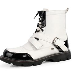 White Black Patent Leather Lace Up Cyber Goth Hipster Winter Boots Men SKU-1280475