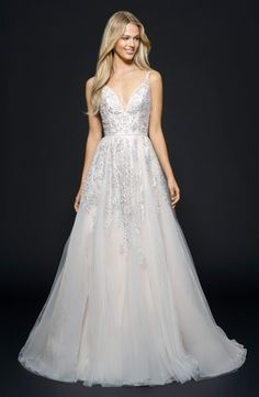 V-Neck A-Line Wedding Dress  with Natural Waist in Tulle. Bridal Gown Style Number:33501925