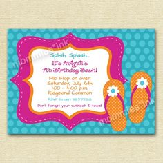 Flip Flop Pool Party Birthday Invitation   PRINTABLE by MommiesInk, $12.50