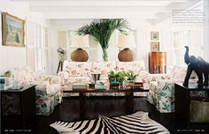 lamps, slipcovers, rug, floors - King's Treat, David Flint Wood and India Hick's home on Harbour Island