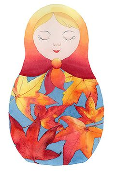 Bright autumn matryoshka with the colourful fall leaves. Russian doll print from original watercolour by Zoya Makarova