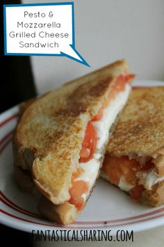 It's Grilled Cheese Week - check out these Pesto, Mozzarella, & Tomato Grilled Cheese Sandwiches!