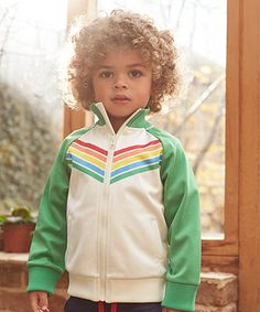 Little Bird by Jools Vintage Cream and Green Track Jacket. Easy to wear and always cool, this vintage inspired track jacket is a versatile layering piece to add to your child's collection.