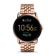 Damen Smartwatch Q Wander - Digitales Display - Touchscreen - Edelstahl - Roségold
