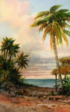 Rarotonga Bungalow , Watercolor painting of Rarotonga, Cook Islands - Watercolor Paintings by Roland Lee