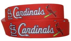 """7/8"""" Grosgrain St. Louis Cardinals Ribbon, Sports Ribbon, Grosgrain Ribbon, Grosgrain by the Yard, Ribbon By The Yard by KC Elastic Ties"""