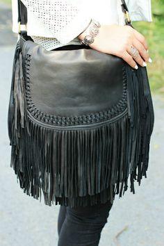 KiVARi CASCADE black fringed tassel bag. Total Bohemian Chic, Shop it at www.kivari.com.au