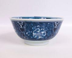 Vintage Asian Rice Bowl Cobalt Blue Floral by LeVintageGalleria