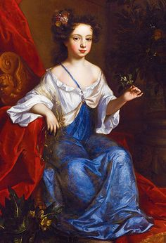Portrait of a Young Girl, a member of the Garrard family of Lamer Park, 1685 - jadedmandarin. Willem Wissing, known in England as William Wissing (1656 – 1687) Historical Women, Historical Clothing, Oil Portrait, Female Portrait, Irish Painters, Dress Painting, Blue Velvet Dress, 17th Century Art, Figurative Art