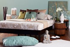 Subtle, earthy shades set the tone for a spa-inspired bedroom.  Love the asian influences spa design is always soothing and a bedroom or bathroom should always feel relaxing and calming